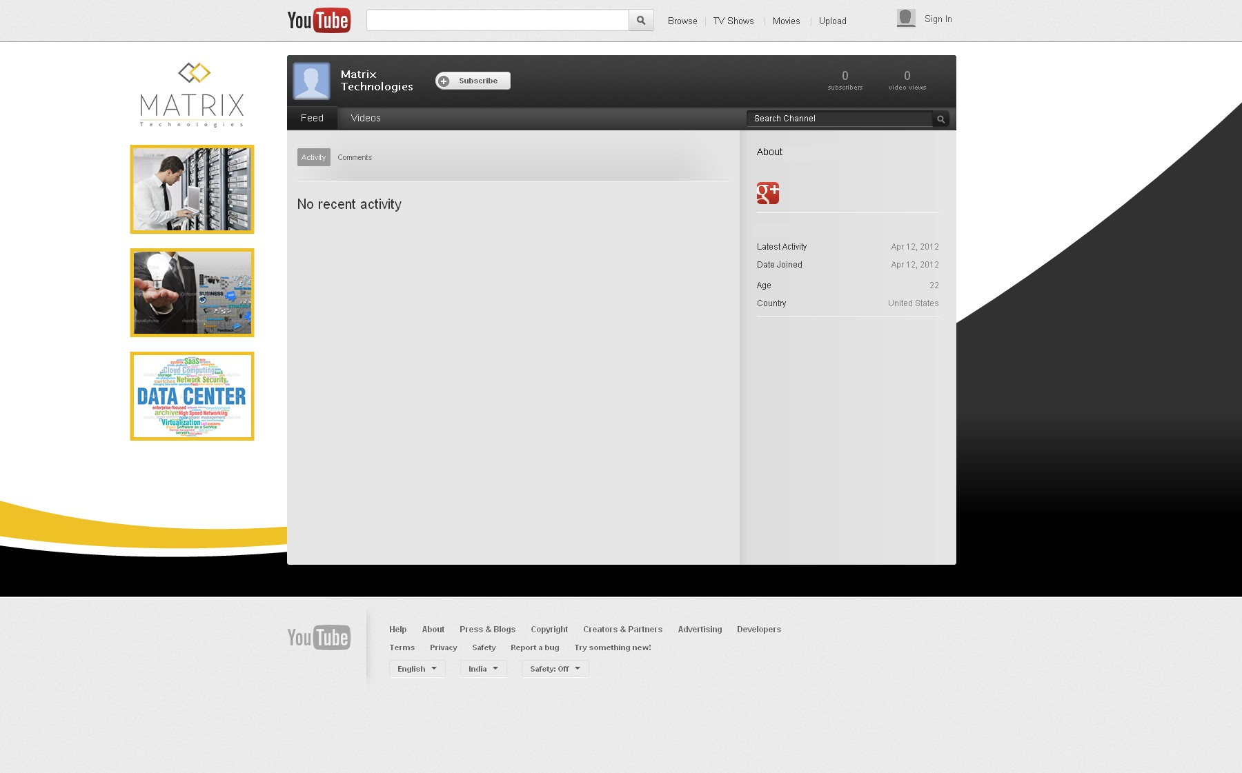 Youtube page design