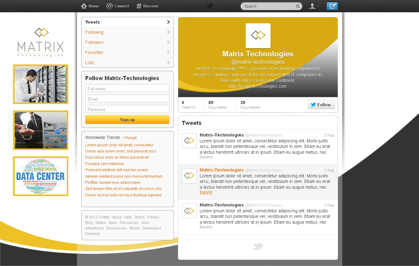 Twitter page design